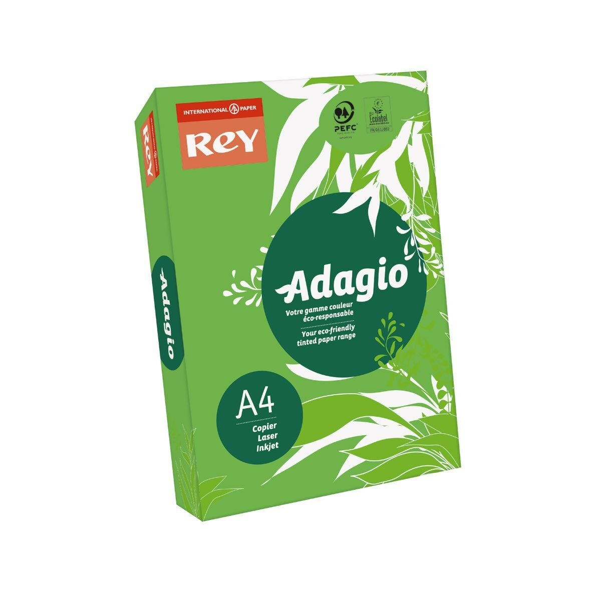 Adagio Ream of Bright Coloured Copier Paper A4 80gsm 500 Sheets Deep Green