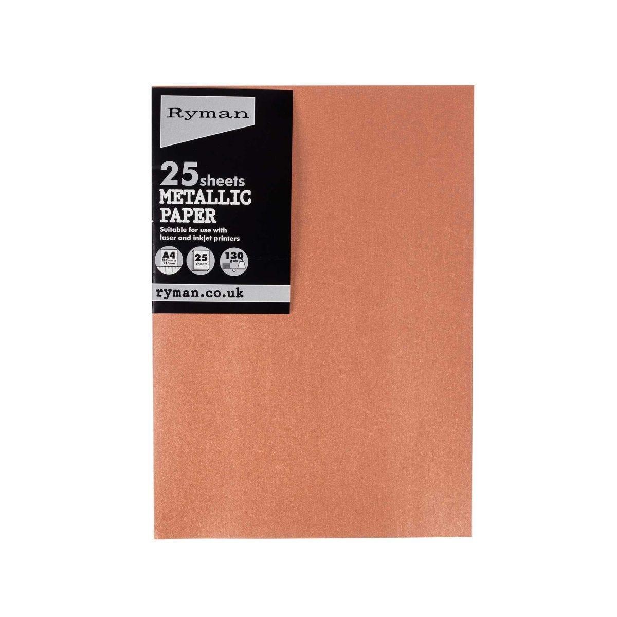 Ryman Metallic Paper A4 Pack of 25 Rose Gold