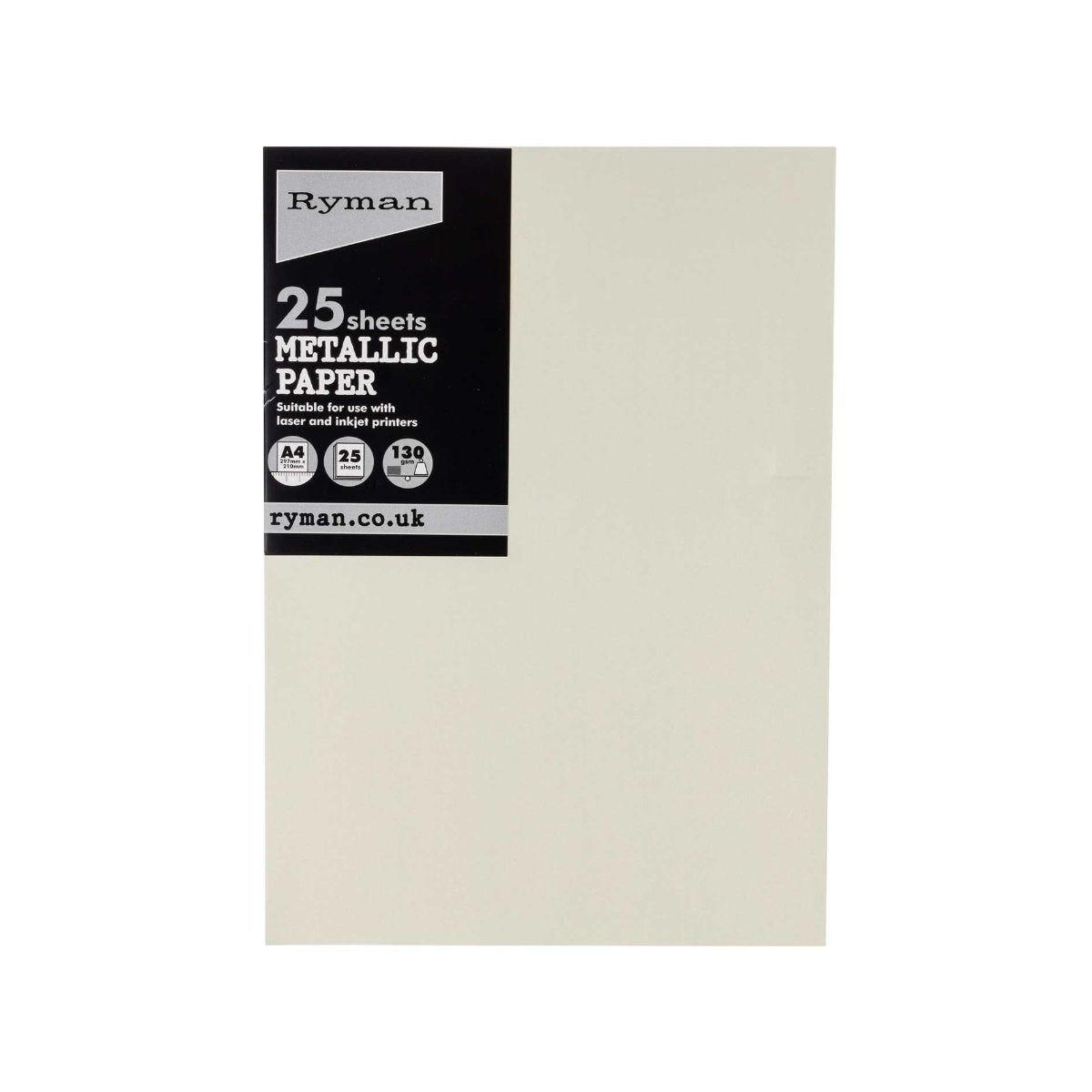 Ryman Metallic Paper A4 Pack of 25 White
