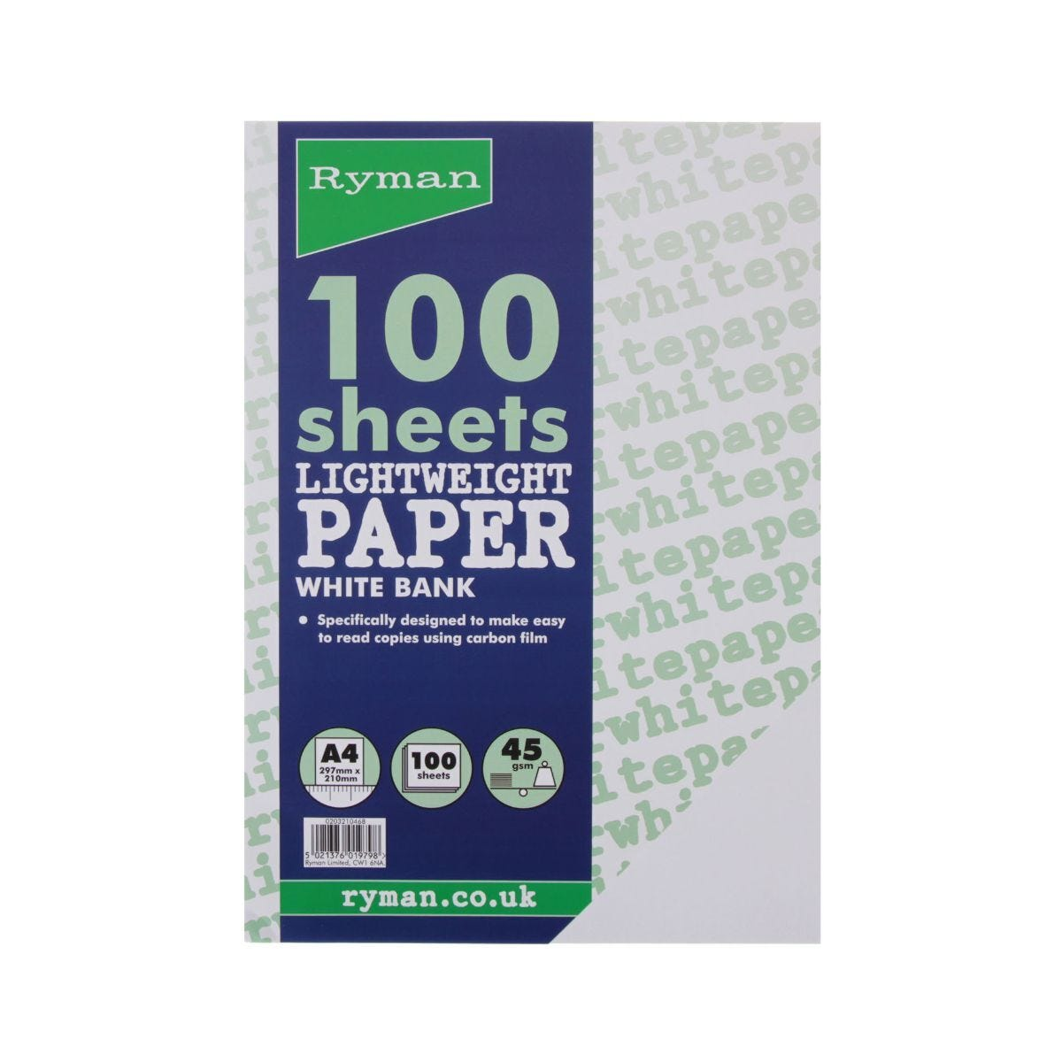 Ryman Bank Typing Paper A4 45gsm 100 Sheets