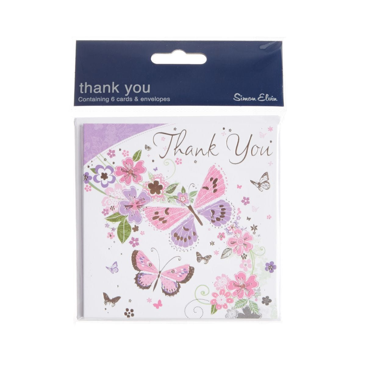 Butterflies Thank You Cards Pack of 6