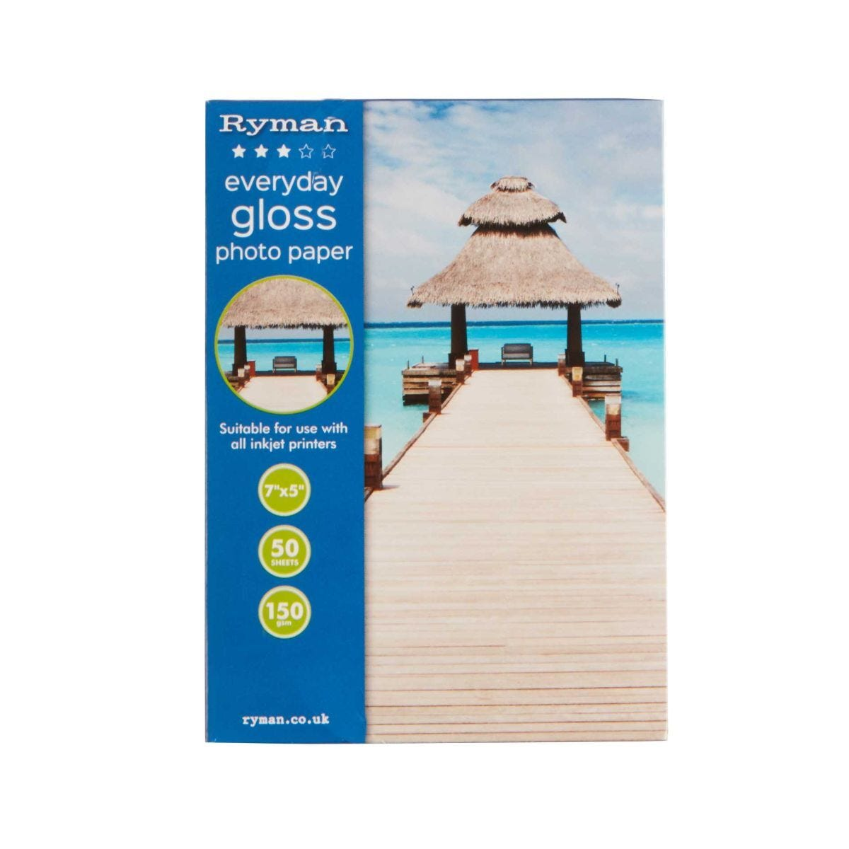 Ryman Everyday Gloss Photo Paper 7x5 Inch 150gsm 50 Sheets