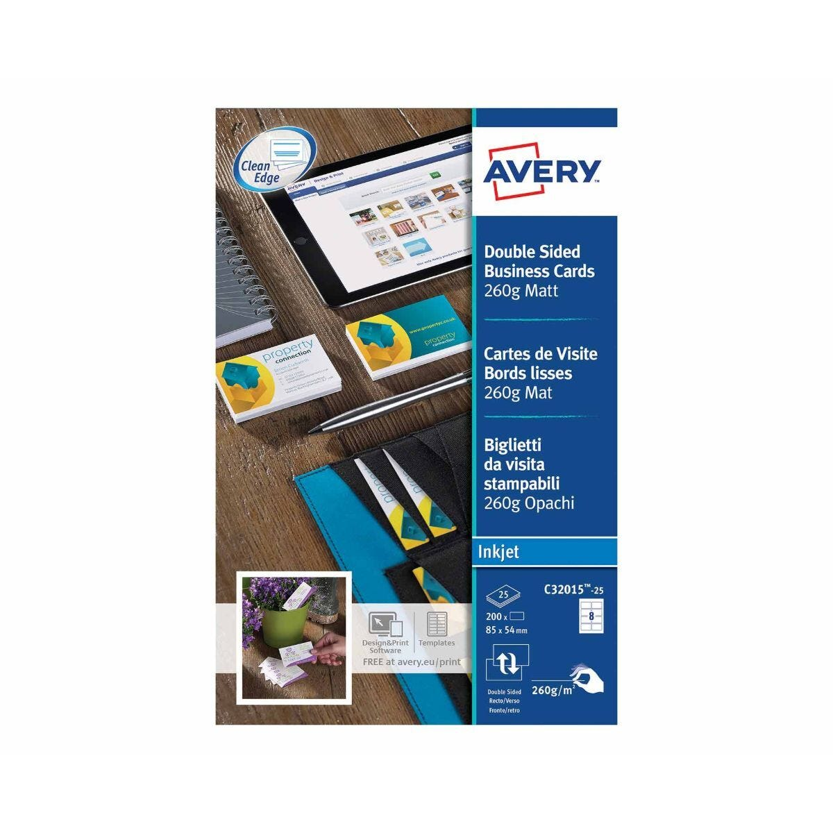 Avery Double Sided Inkjet Business Cards 85 x 54mm Pack of 200