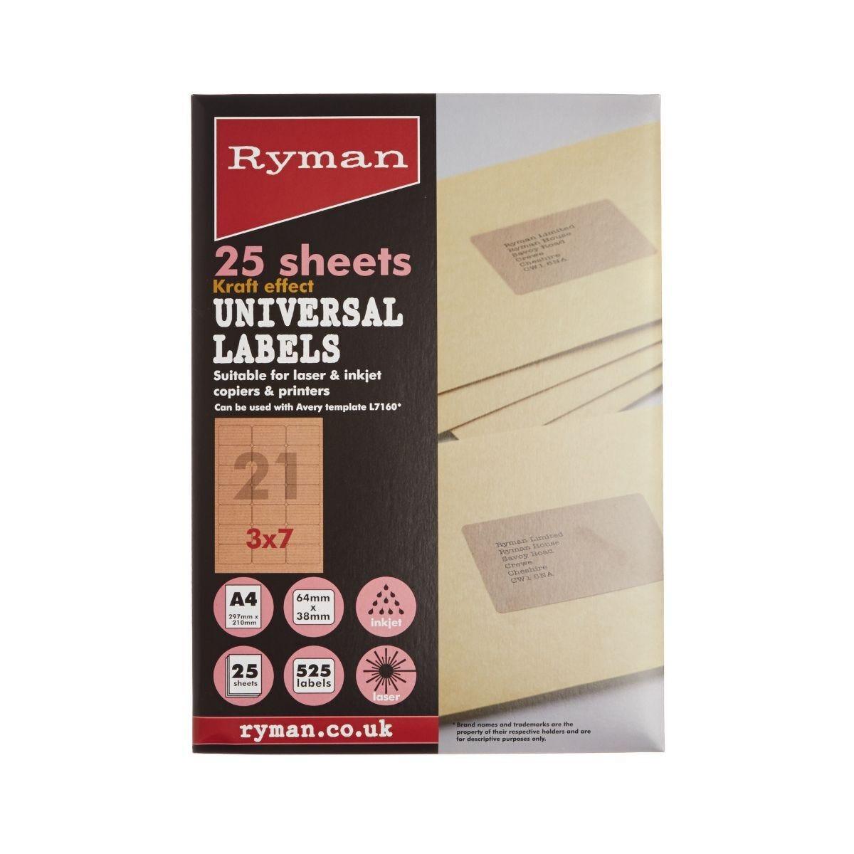 Ryman Universal Labels 21 Per Sheet Pack of 25 Sheets Brown