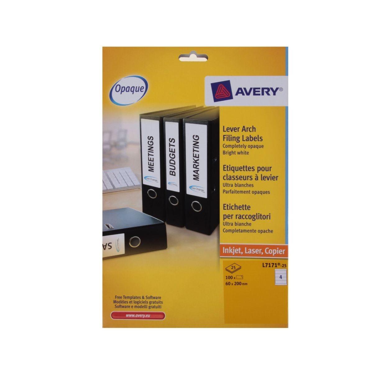 Avery Laser Labels 60mm x 200mm Filing 4 per Sheet 25 Sheets