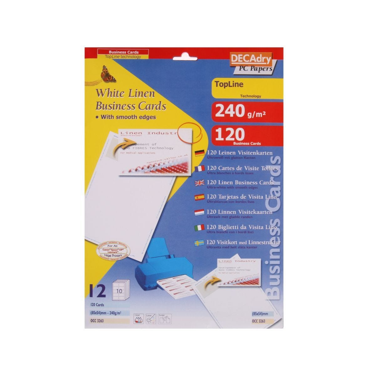 Decadry Laid Business Cards Clean Edge Pack of 120