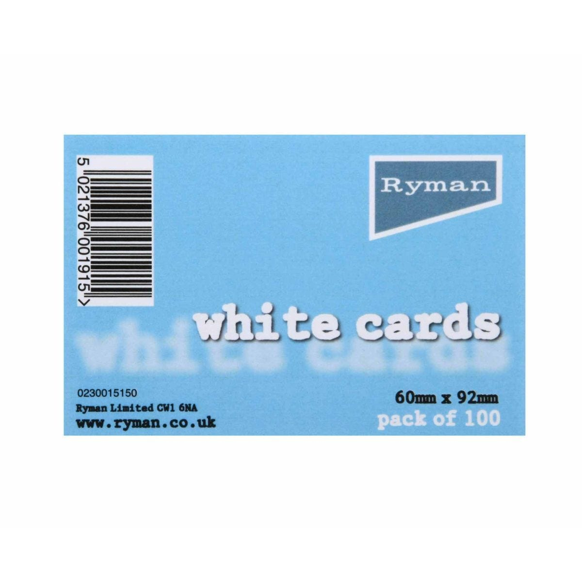 Ryman White Cards 60x92mm Pack of 100