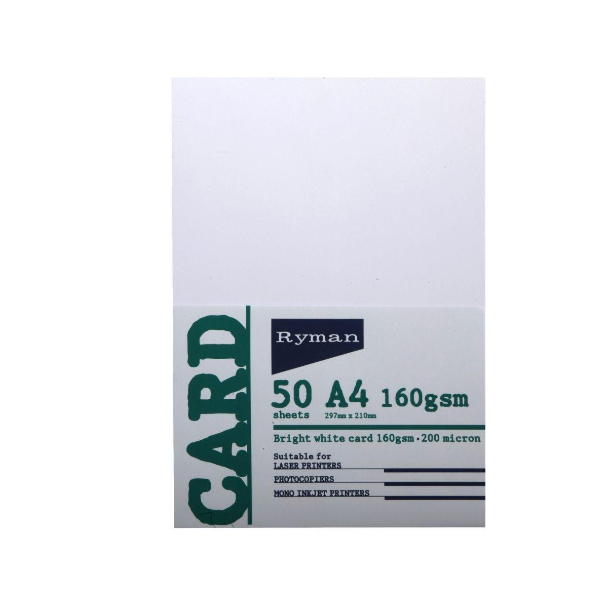 Ryman Card A4 160gsm 50 Sheets White