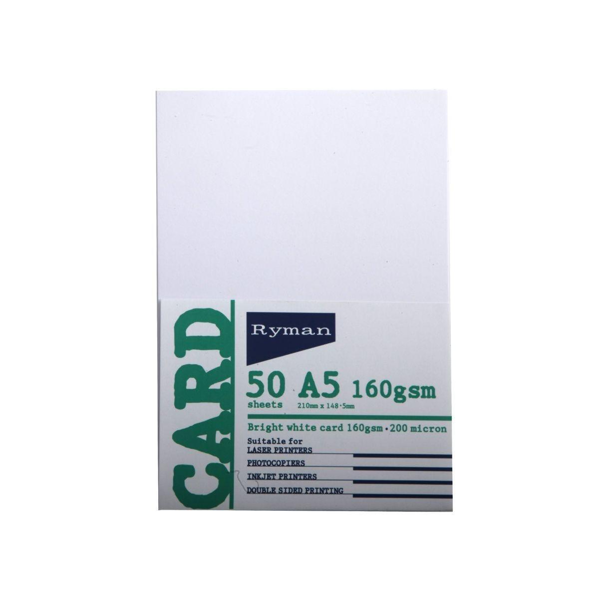 Ryman Card A5 160gsm 50 Sheets White