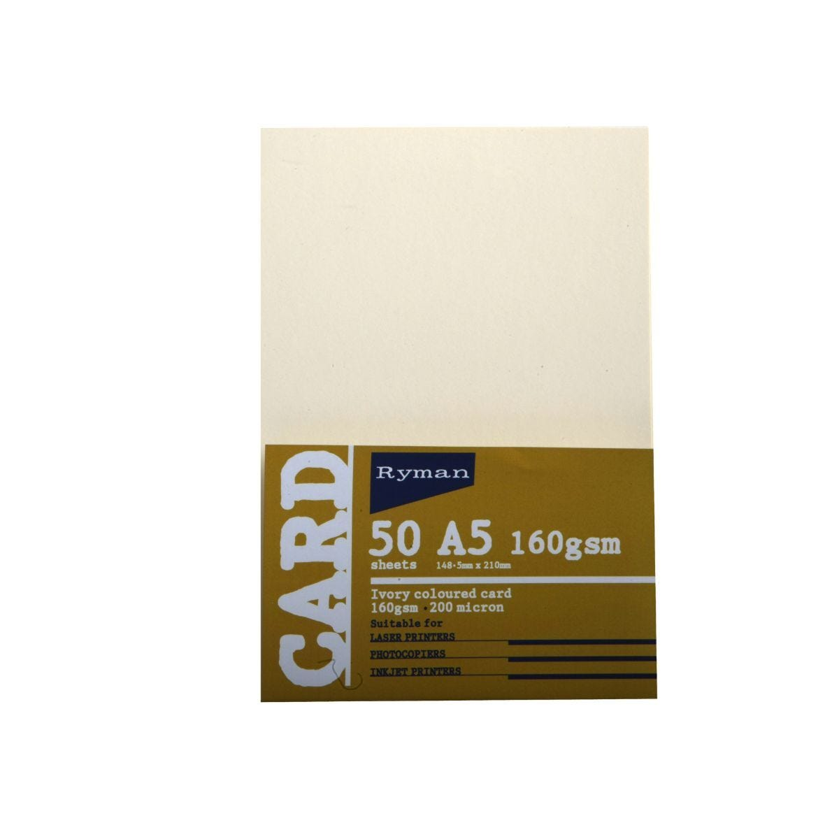 Ryman Card A5 160gsm 50 Sheets Ivory