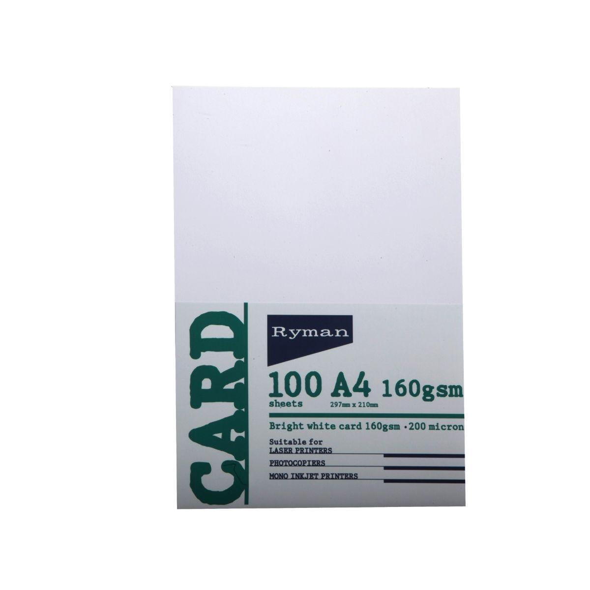 Ryman Card A4 160gsm 100 Sheets White
