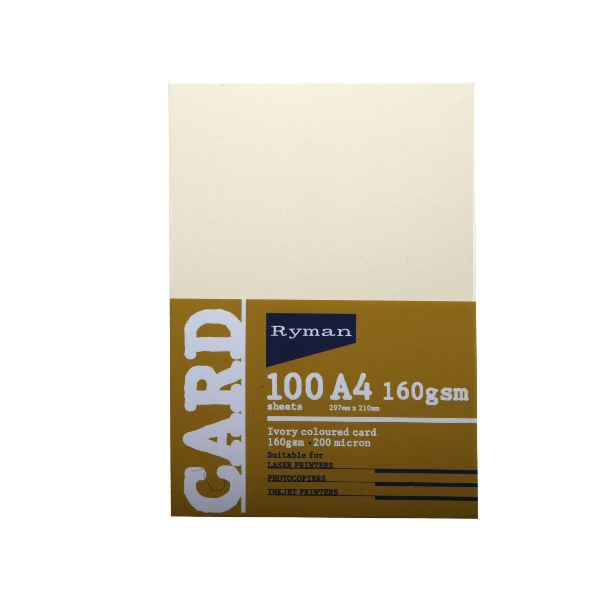 Ryman Card A4 160gsm 100 Sheets Ivory
