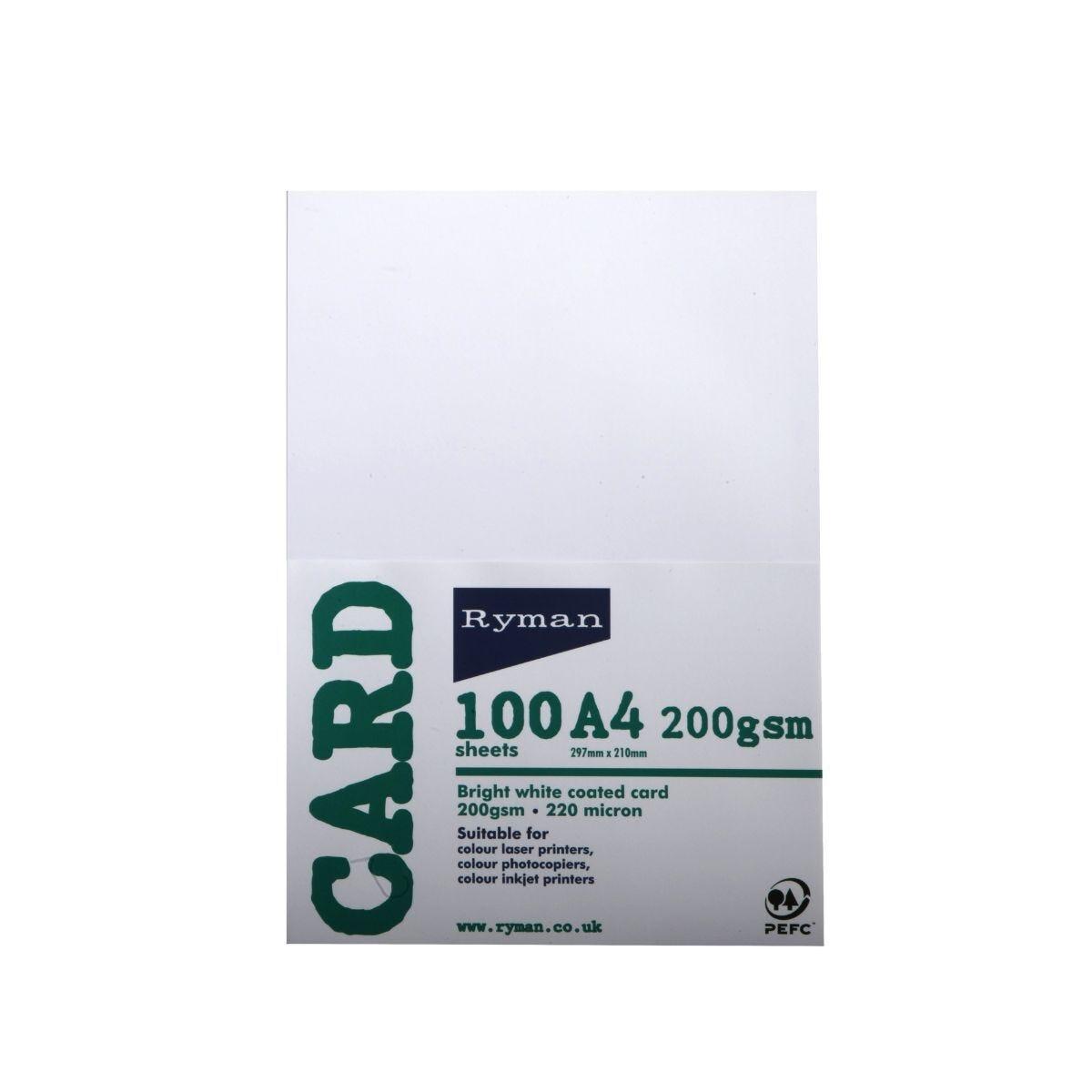 Ryman Card A4 200gsm 100 Sheets White