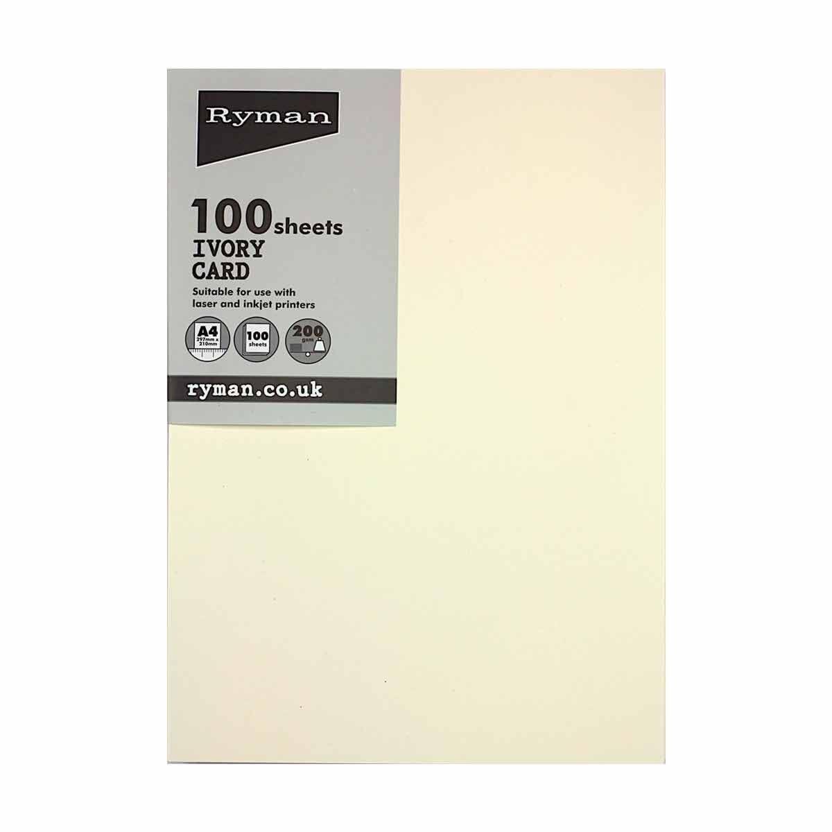 Ryman Card A4 200gsm 100 Sheets Ivory