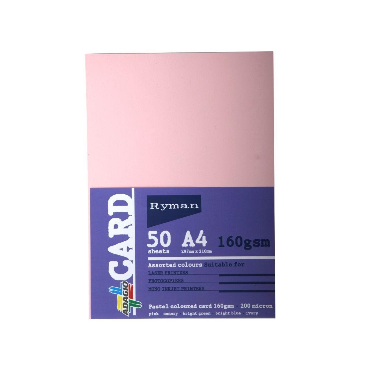 Ryman Adagio Card A4 160gsm 50 Sheets light assorted