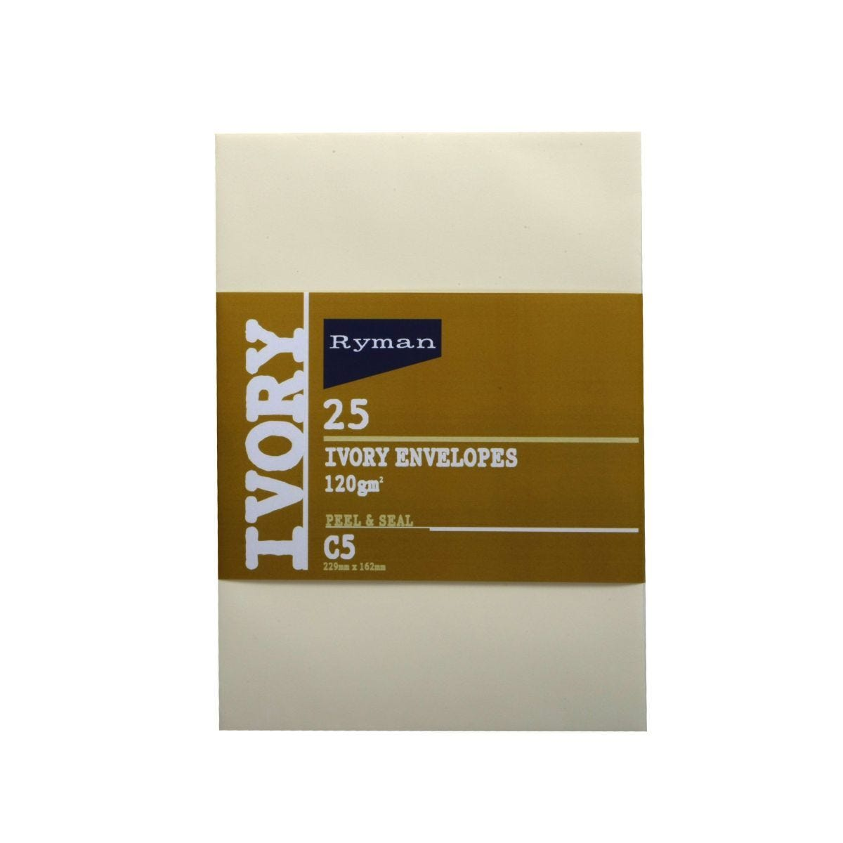 Ryman Card Envelopes C5 120gsm Peal and Seal Pack of 25 Ivory