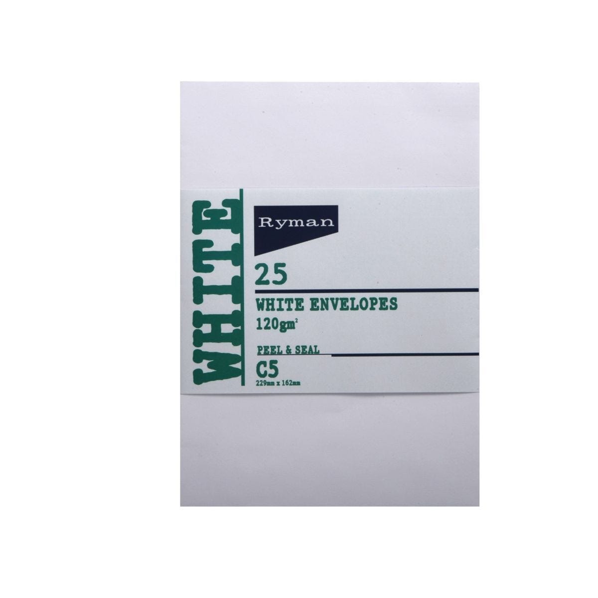 Ryman Card Envelopes C5 120gsm Peal and Seal Pack of 25 White
