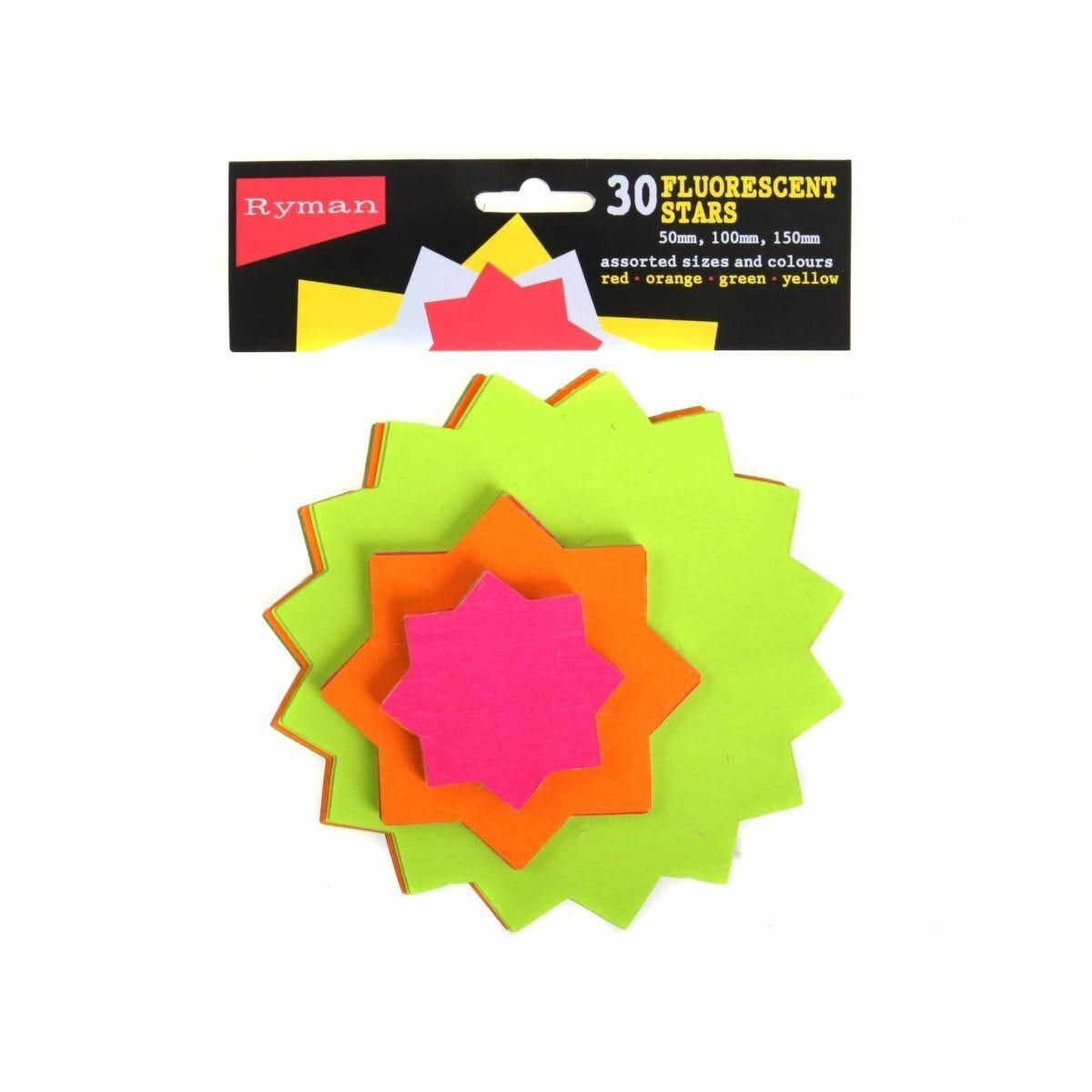Ryman Fluorescent Stars Pack of 30