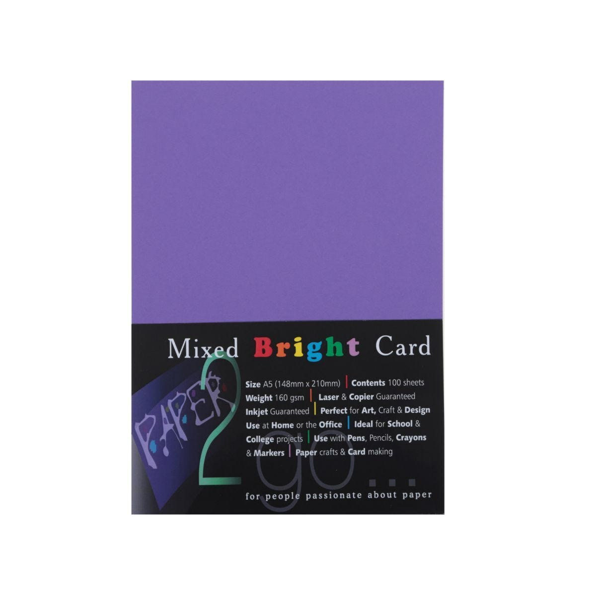 Paper2go Rainbow Card Brights A5 160gsm Pack 100