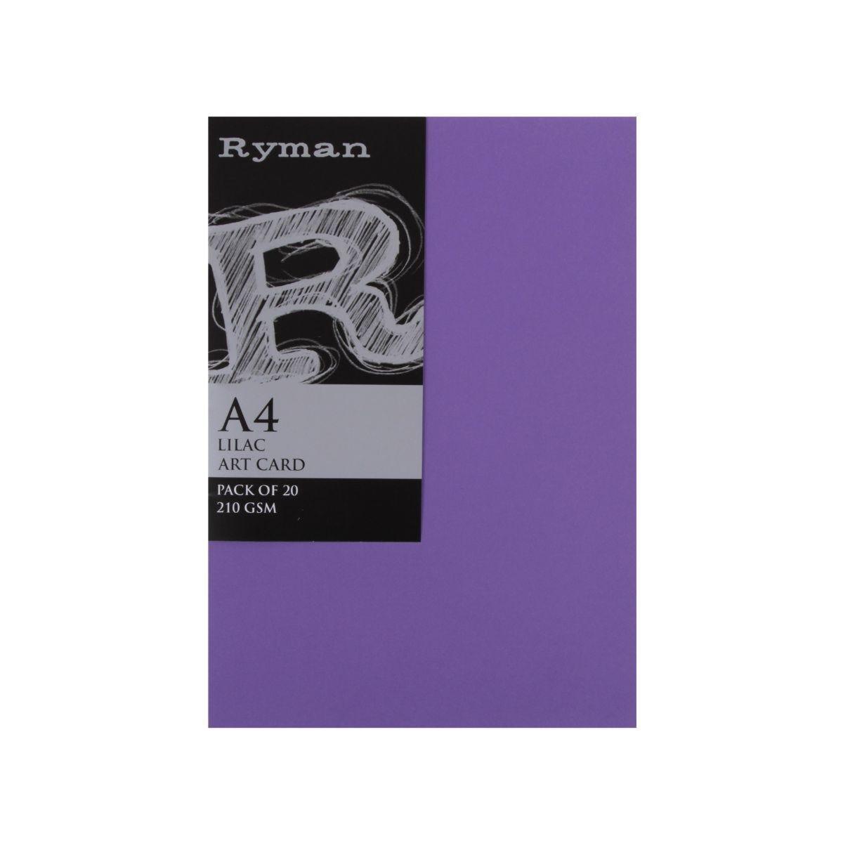 Ryman Artcard A4 210gsm Pack of 20 Lilac