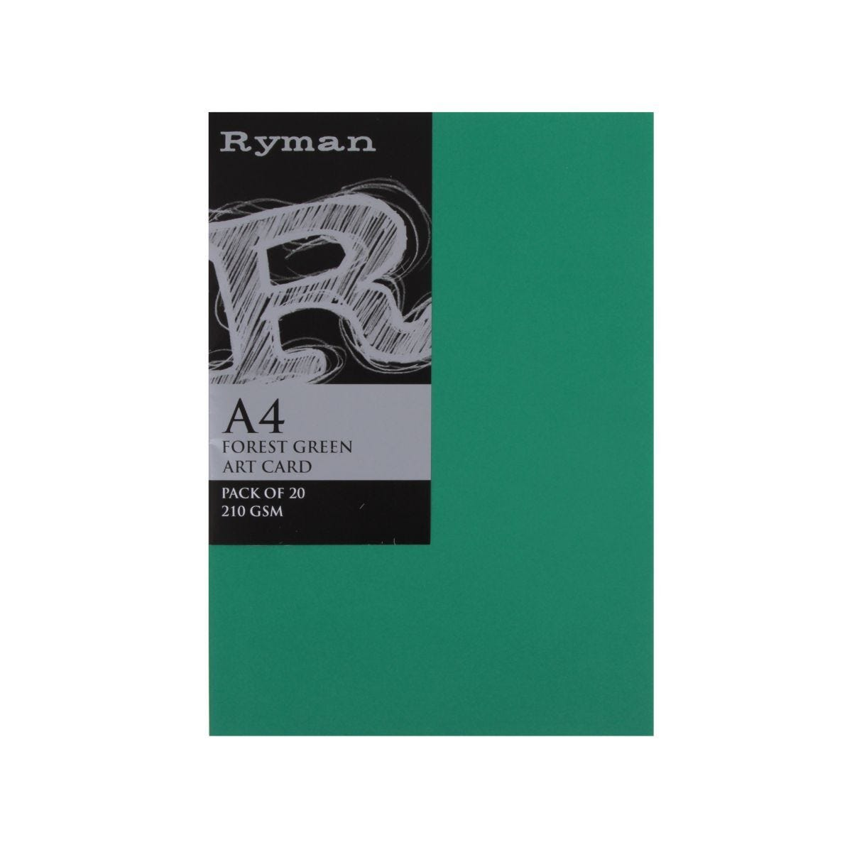 Ryman Artcard A4 210gsm Pack of 20 Forest Green