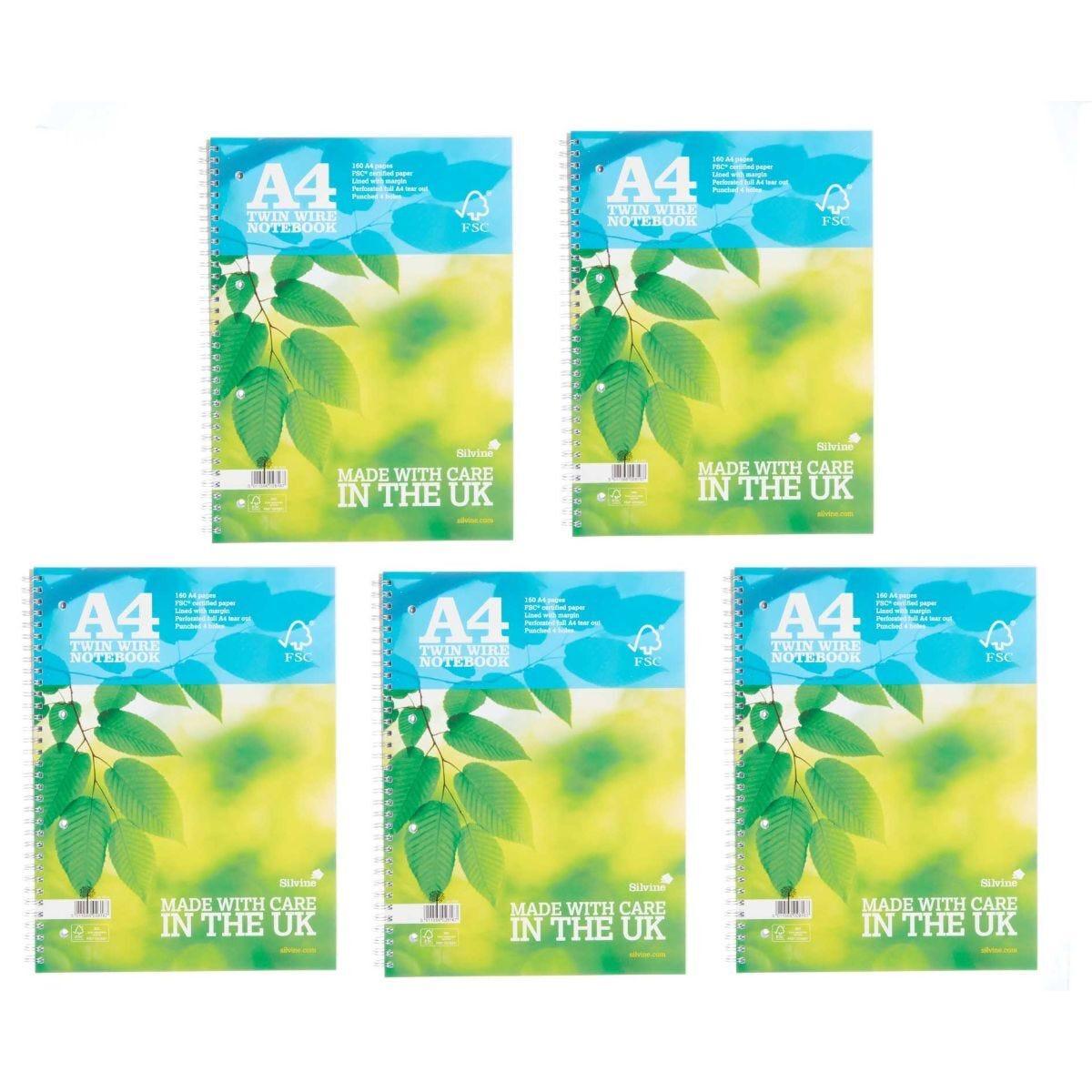 Silvine Premium Wiro Notebook A4 Pack of 5