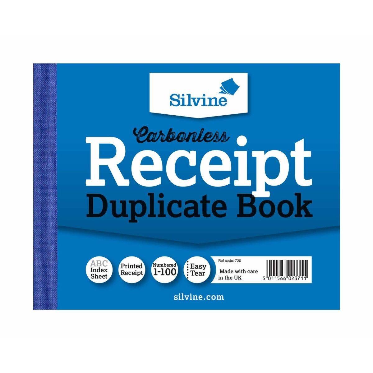 Silvine Carbonless Duplicate Receipt Book Pack of 12