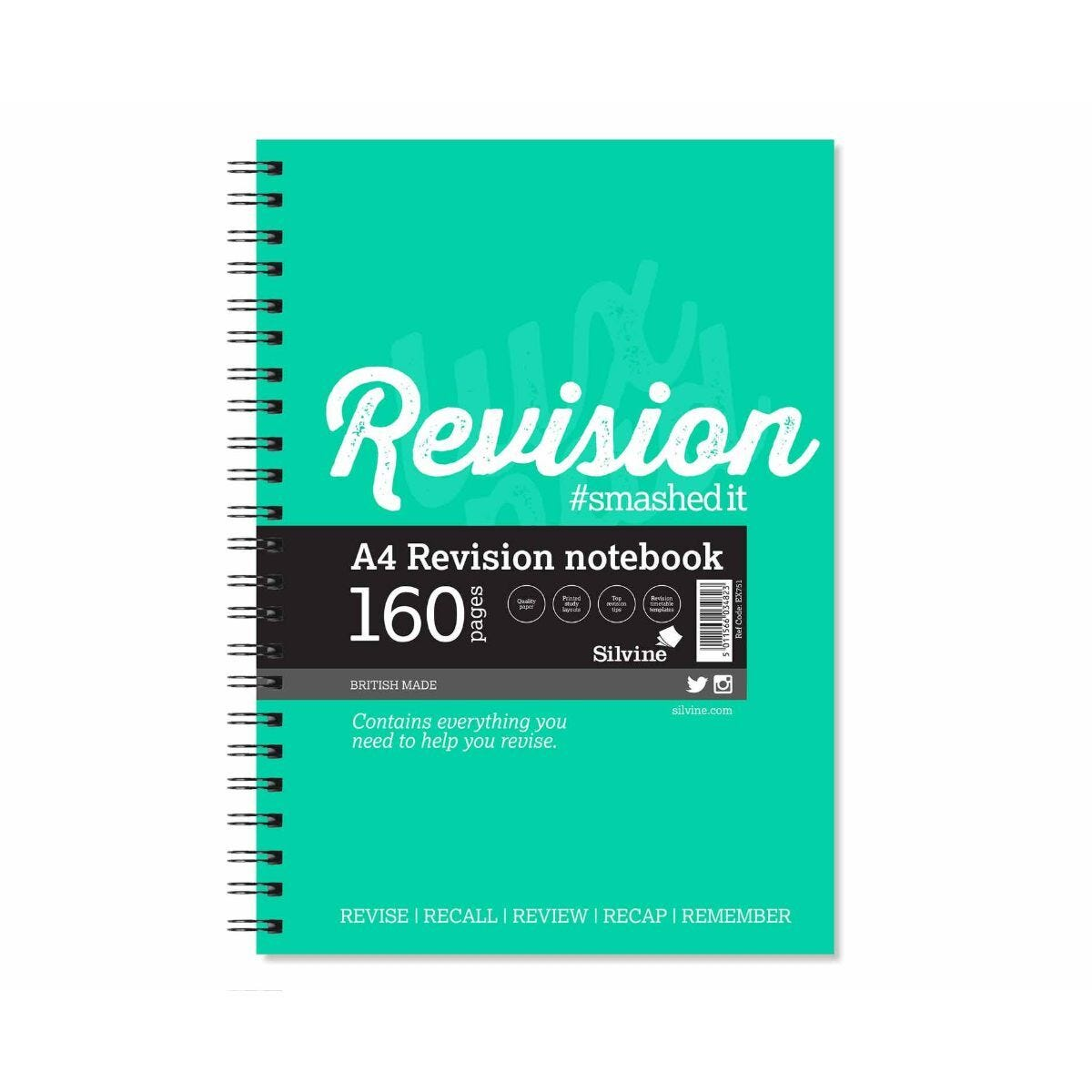 Silvine Revision Notebook A4 160 Pages