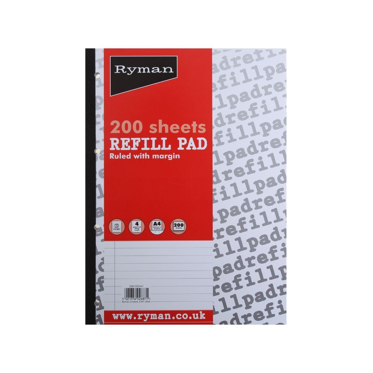 Ryman Refill Pad A4 Ruled With Wide Margin 400 Pages 200 Sheets