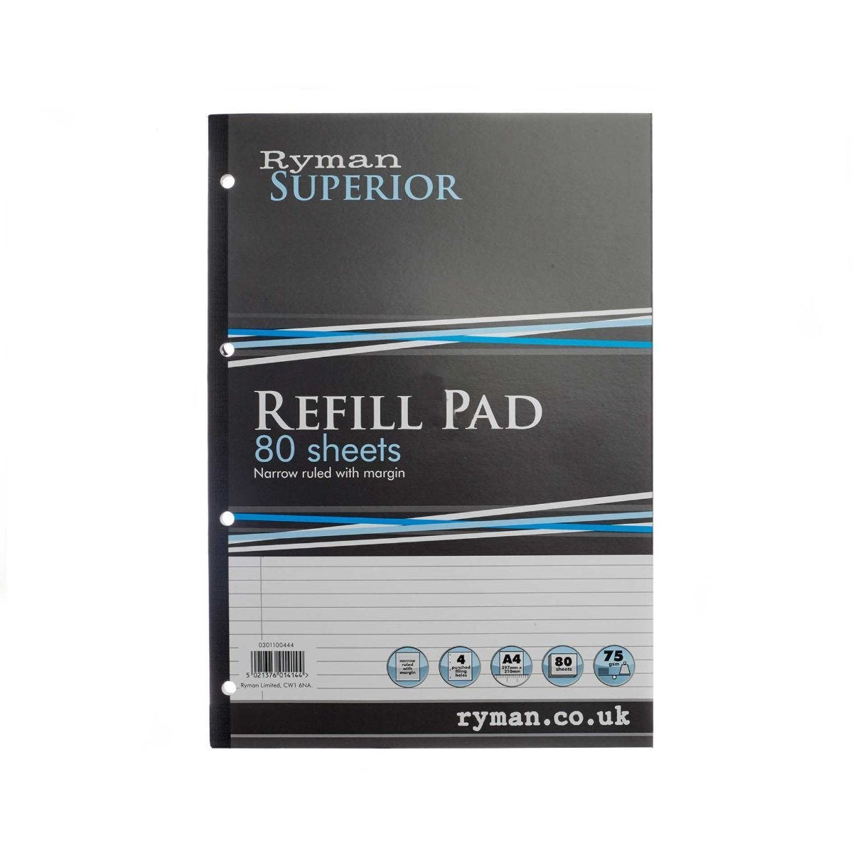 Ryman Superior Pad A4 Narrow Ruled With Margin Side Bound 160 Pages 80 Sheets
