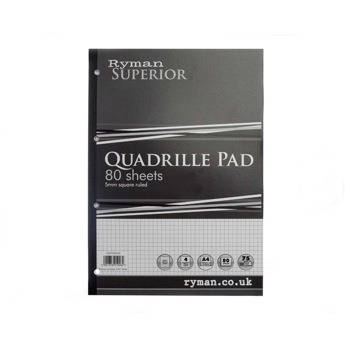 Ryman Superior Pad A4 Quadrille Sidebound 160 Pages 80 Sheets