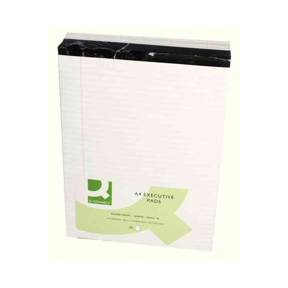 Q-Connect Executive White Ruled A4 Notebooks Pack of 10
