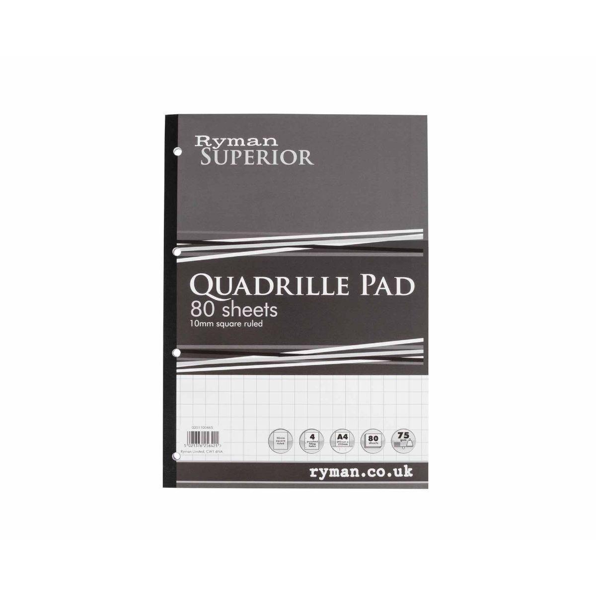 Ryman Superior Quadrille Pad A4 80 Sheets