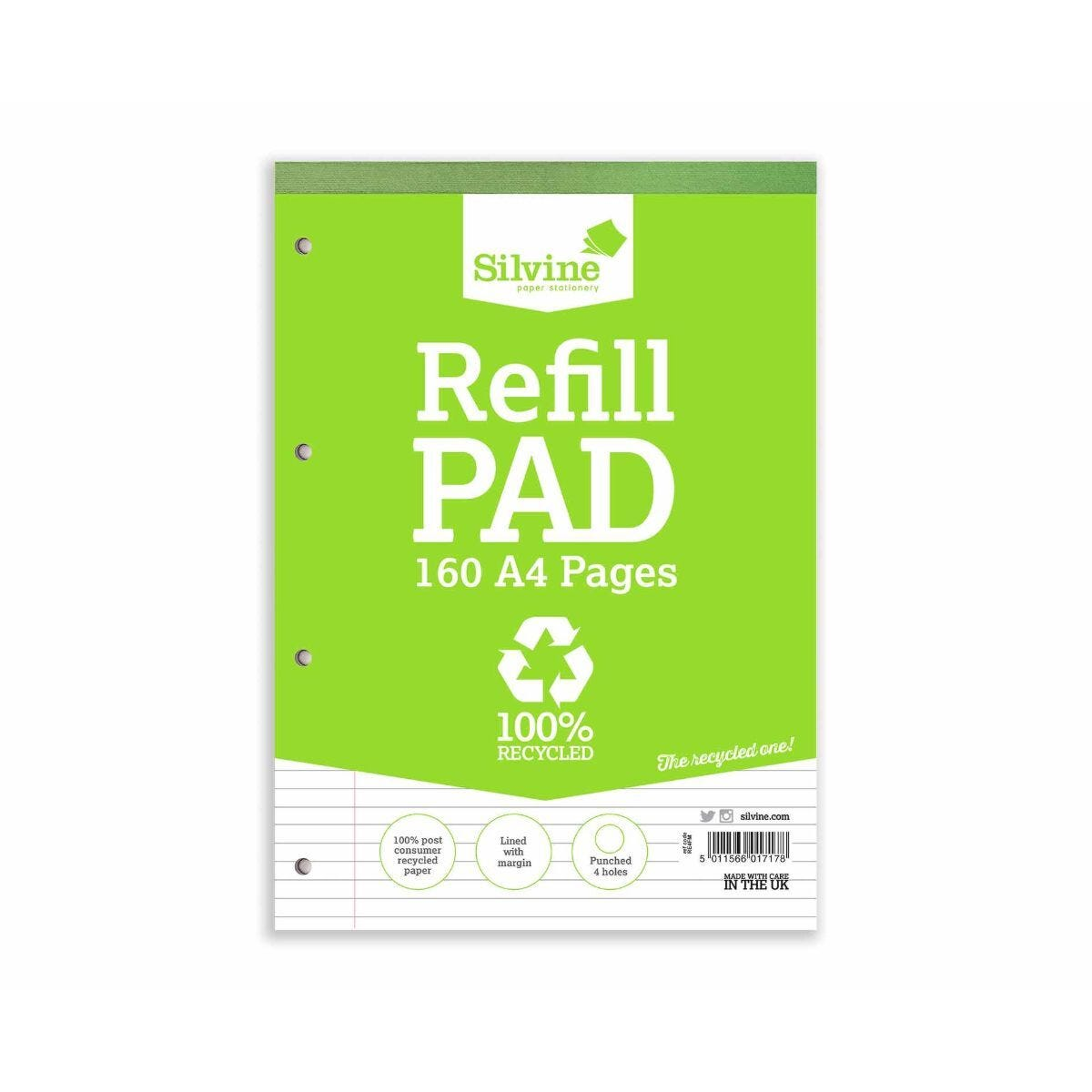 Silvine Everyday 100% Recycled A4 Refill Pad Pack of 6