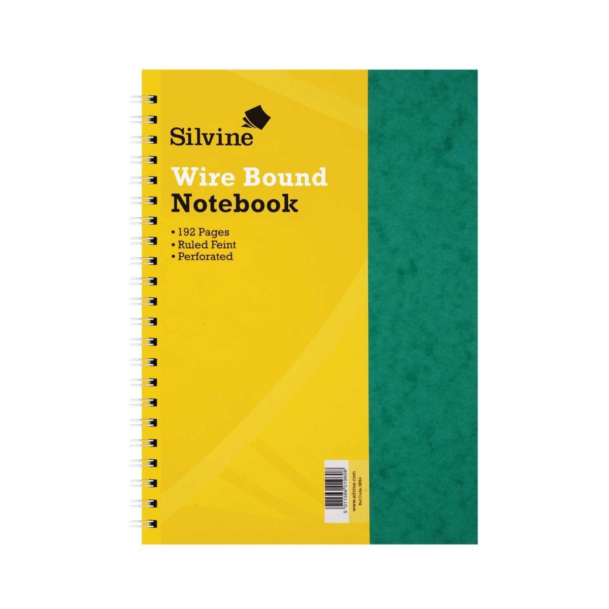 Silvine Notebook Twin Wire Stiff Press Board Pack of 6 A4 75gsm 192 Pages