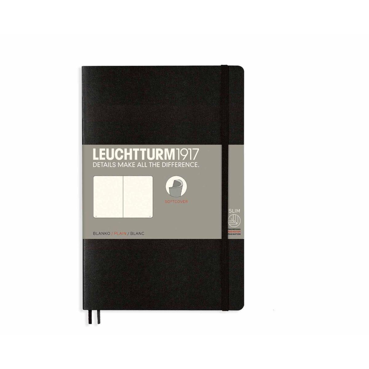 Leuchtturm1917 Soft Cover Notebook Plain B6 Plus Black