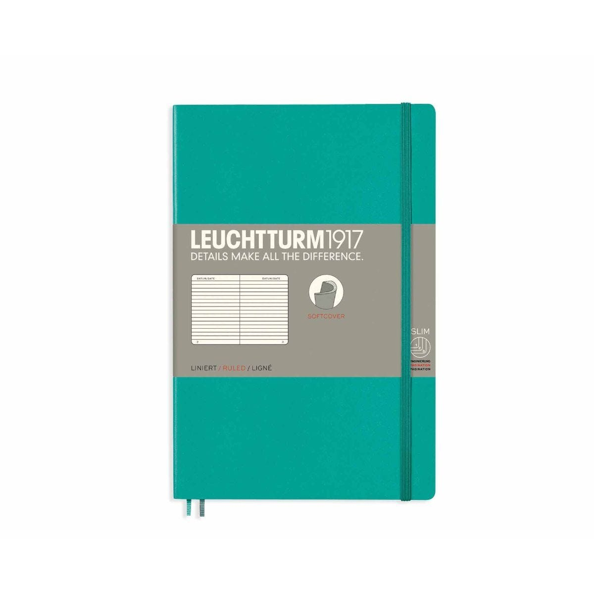 Leuchtturm1917 Soft Cover Notebook Ruled B6 Plus Pacific Green