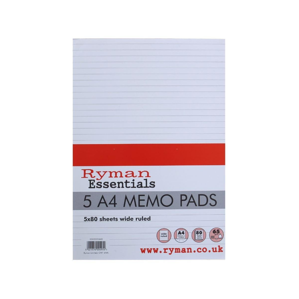 Ryman Memo Pad A4 Ruled Top Bound 160 Pages 80 Sheets Pack of 5
