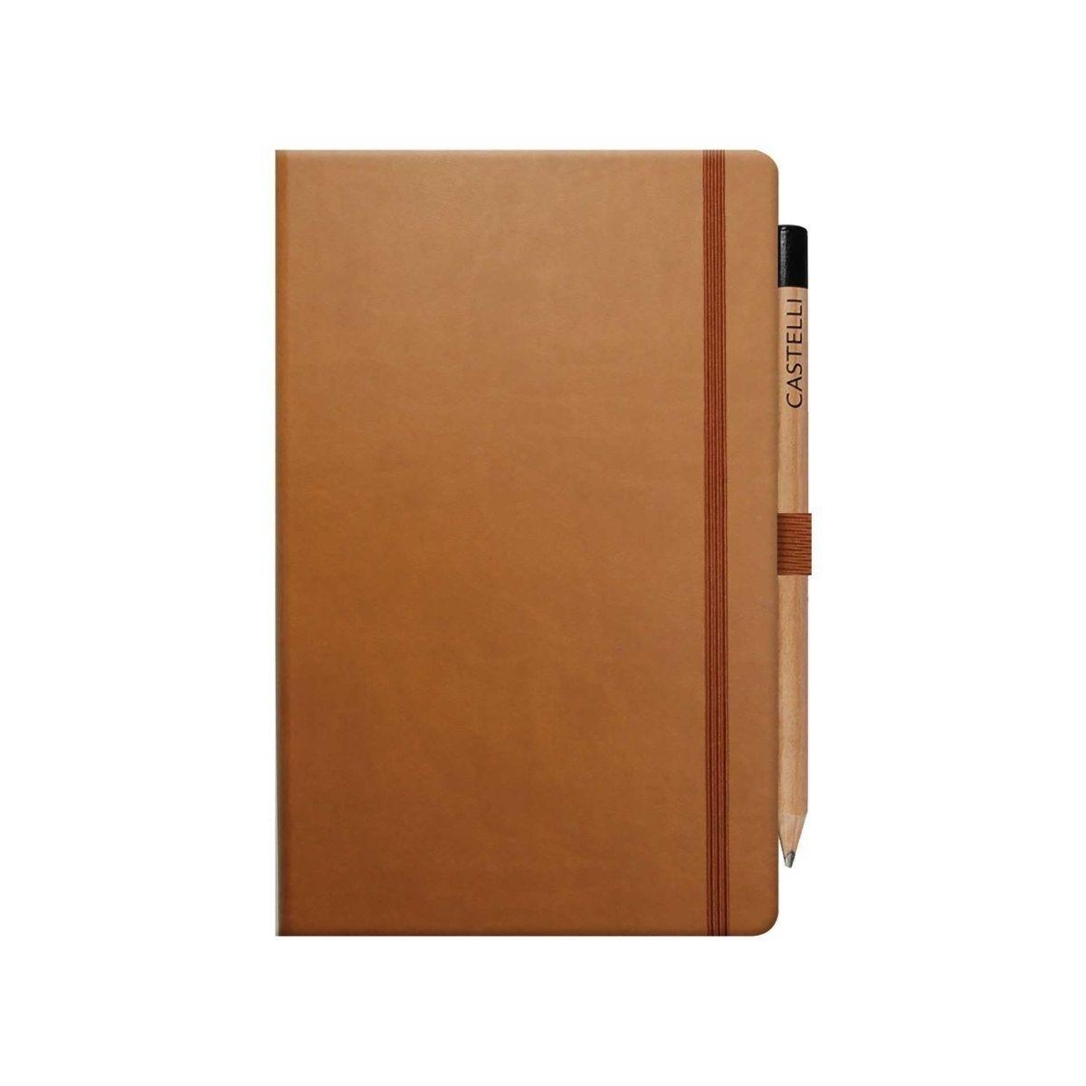 Castelli Ivory Tuscan Notebook Medium Ruled Plus Pencil Chestnut