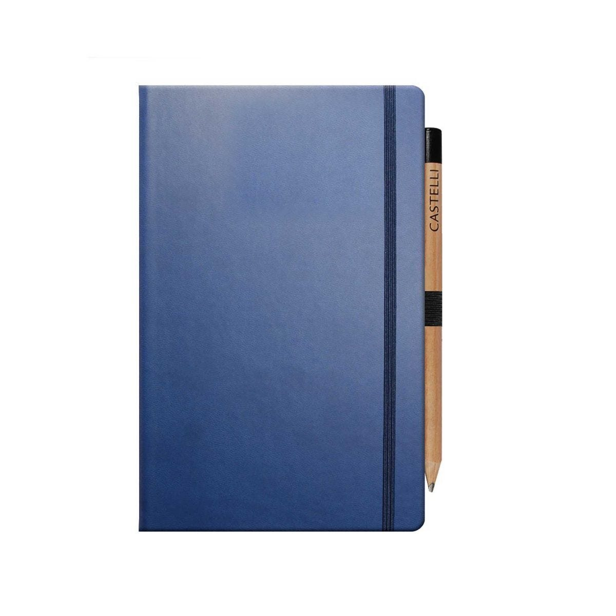 Castelli Ivory Tuscan Notebook Medium Ruled Plus Pencil China Blue