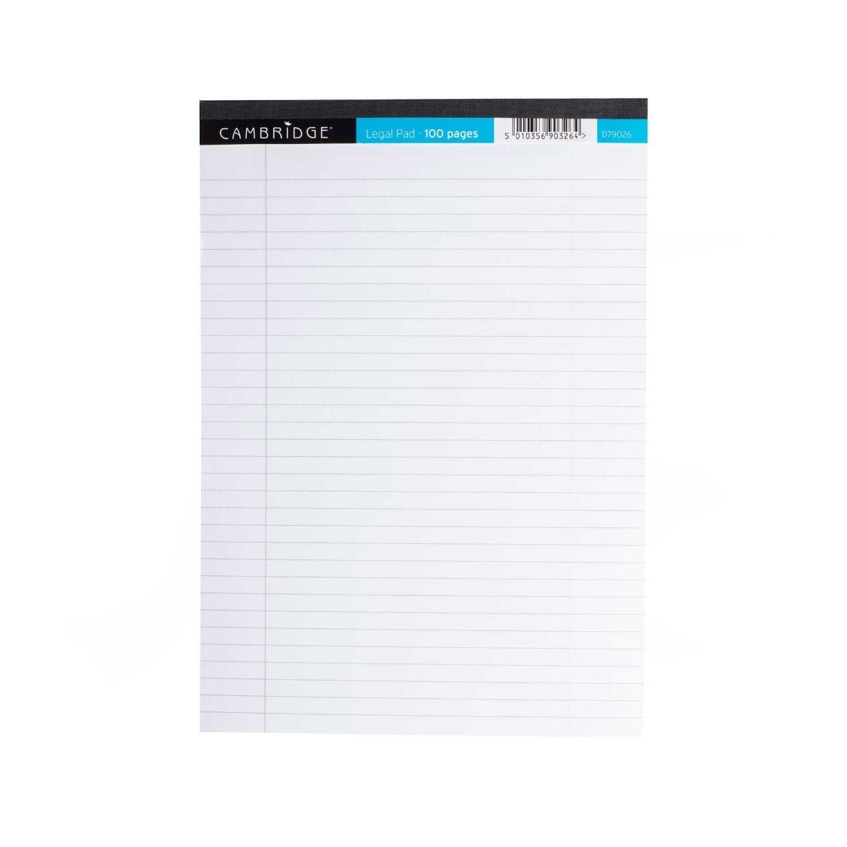 Cambridge Legal Pad Ruled and Margin 100 pages 70gsm Pack of 10 White