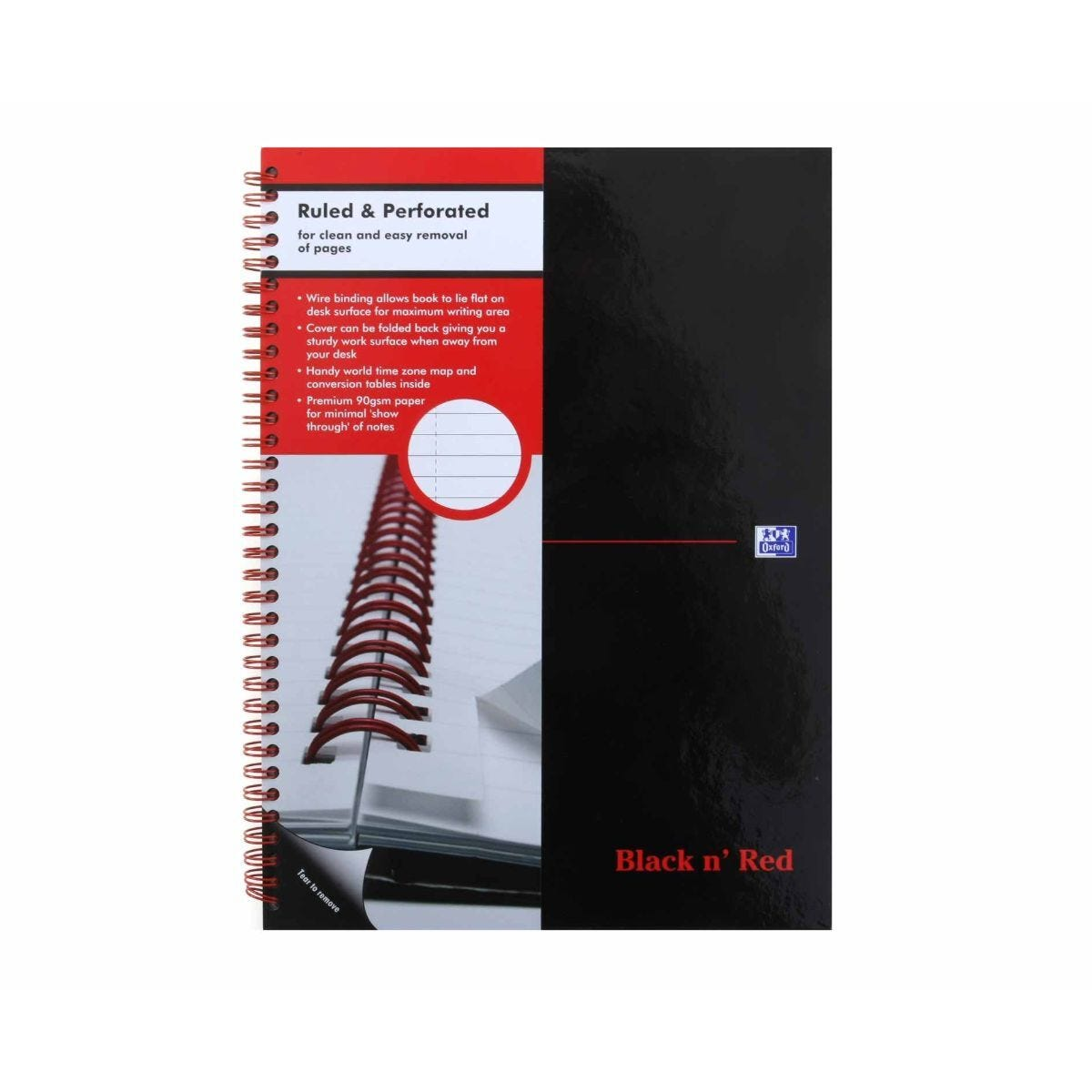 Oxford Black n Red A4 Notebook 140 Pages Wirebound Hardback Ruled Glossy