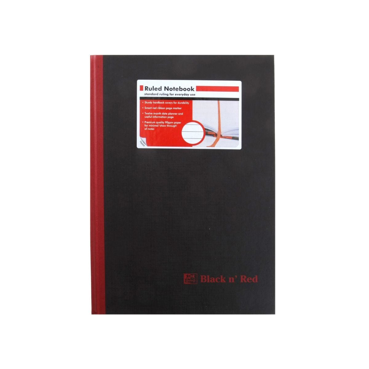 Oxford Black n Red A4 Notebook 192 Pages Casebound Hardback Ruled Pack 5