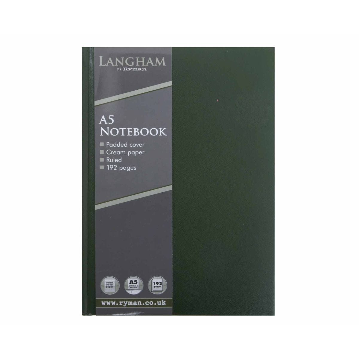 Ryman Langham Notebook A5 192 Pages 96 Sheets Green