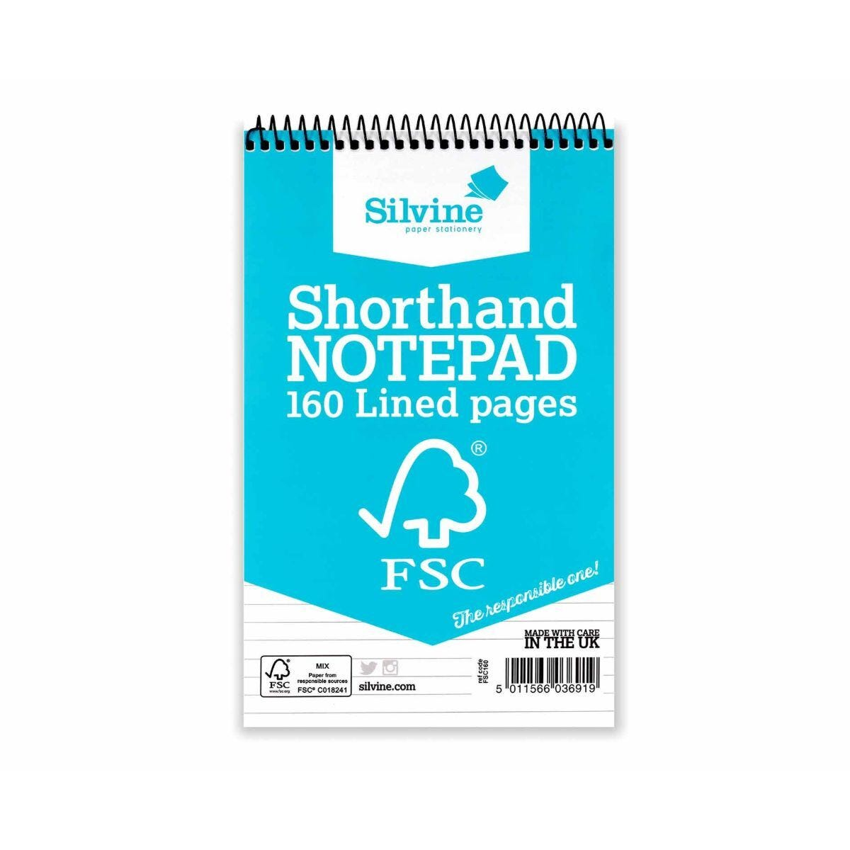 Silvine Shorthand Notepad Ruled 160 Pages 80 Sheets