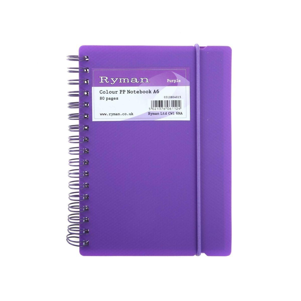 Ryman Colour Polypropylene Notebook A6 80 Pages 40 Sheets Purple