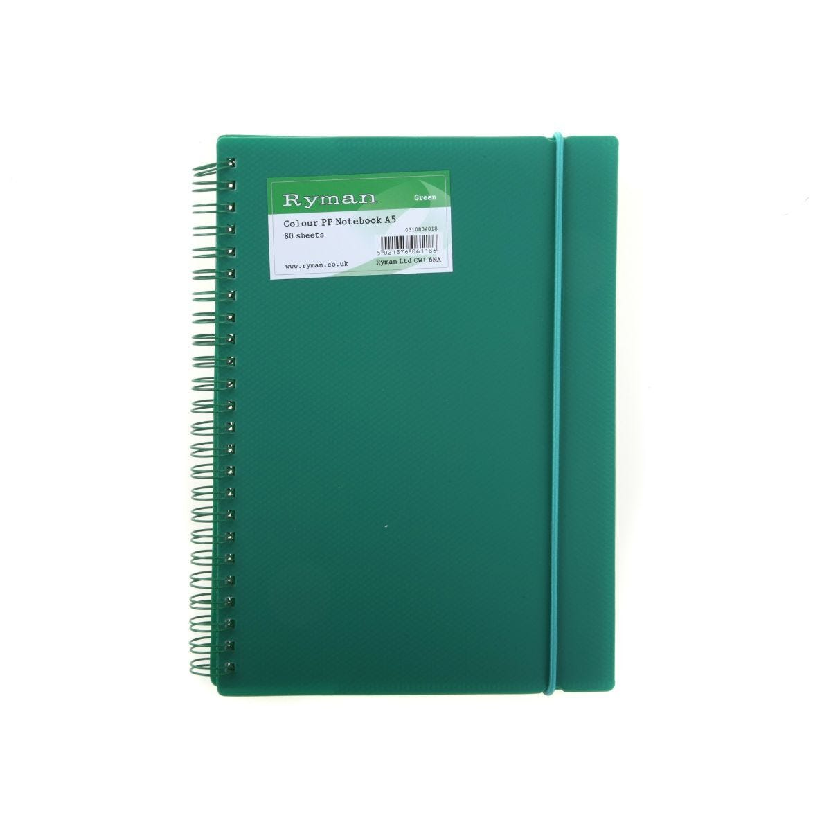 Ryman Notebook A5 Polypropylene 80 Pages 40 Sheets Green