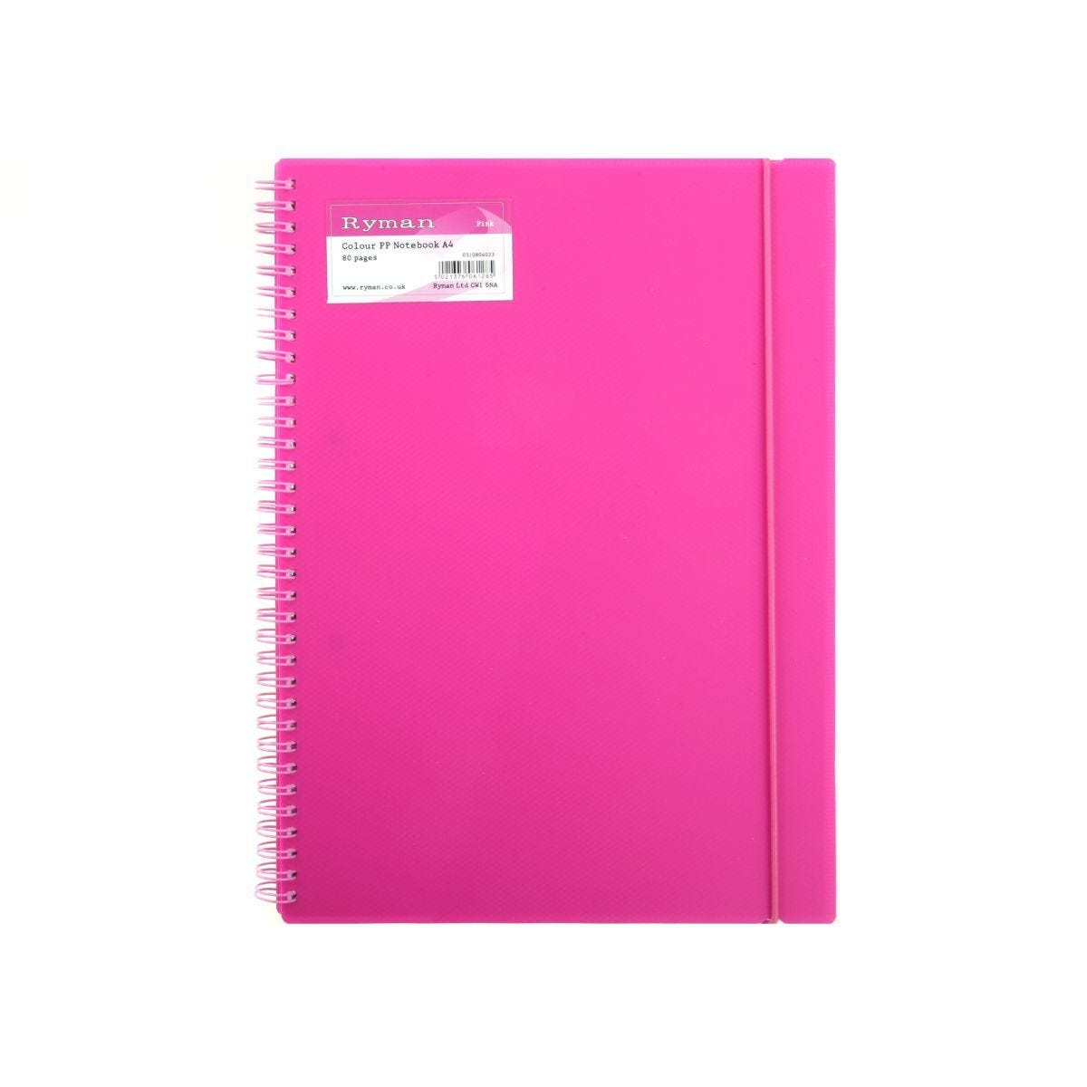 Ryman Colour Polypropylene Notebook A4 160 Pages 80 Sheets Pink