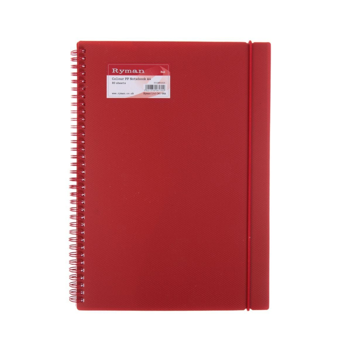 Ryman Colour Polypropylene Notebook A4 160 Pages 80 Sheets Red