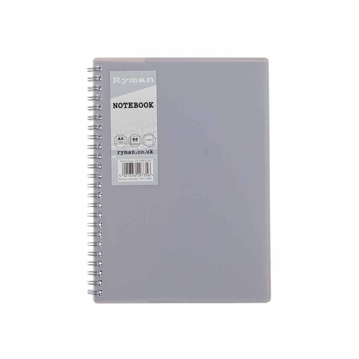 Ryman Pastel Notebook Ruled A5 Grey